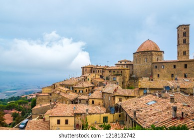 View at the buildings of old town Volterra - Italy