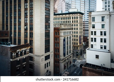 View of buildings on Calvert Street from a parking garage in Baltimore, Maryland.