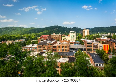 View of buildings from a parking garage in Asheville, North Carolina.
