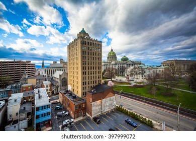 View of buildings and the Pennsylvania State Capitol Complex in Harrisburg, Pennsylvania.