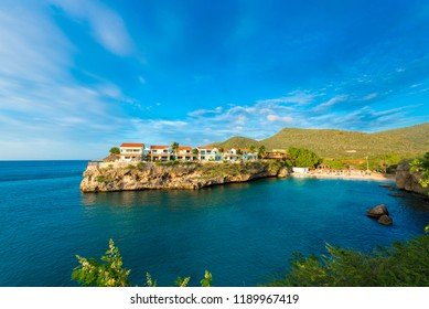 View of buildings in Playa Lagun, Curacao, Netherlands. Copy space for text