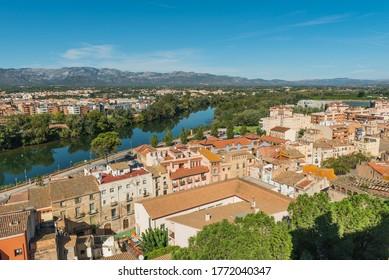 View of the buildings and the river Ebro, Tortosa, Catalonia, Tarragona, Spain