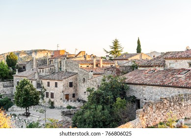 View of the buildings in the village Siurana, Tarragona, Spain. Copy space for text