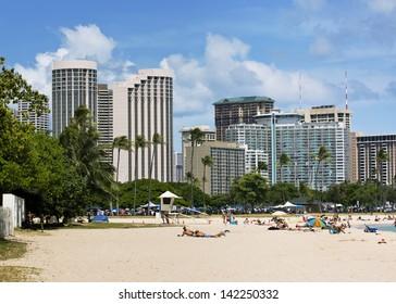 view of buildings in Waikiki overlooking Ala Moana Beach Park on the island of Oahu, Hawaii.
