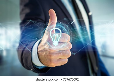 View of Bulb lamp idea concept icon on a futuristic interface