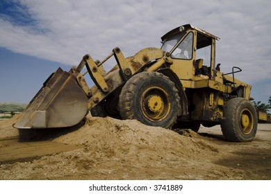 View of a Bulldozer at Construction Site
