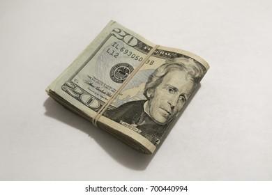 A view of a bunch of twenty dollar bills