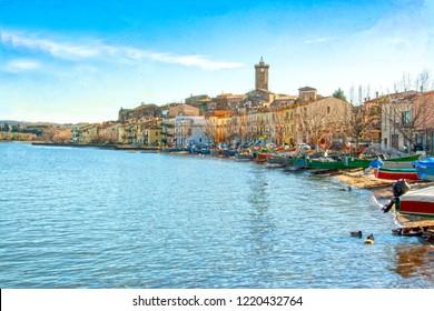 view of the burg of Marta on Bolsena lake, Lazio, Italy