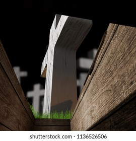 view from buried coffin in a grave on a graveyard with crosses 3d-illustration