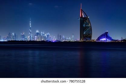 View of Burj Al Arab and Burj Khalifa from Palm Jumeirah. Dubai - UAE. 12 December 2017.