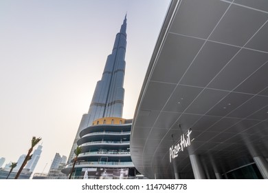 View of Burj Khalifa and the New Fashion Avenue. Dubai - UAE. 22 July 2018