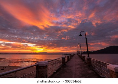 The view of burning cloud over Jerejak Jetty Penang during sunrise.