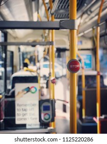 """View of the bus Number 440 To Bondi Junction: Sydney Australia,2 July 2018: Close up with Signs """"STOP"""" The word stop on the bus is used to tell the driver when to stop the bus."""