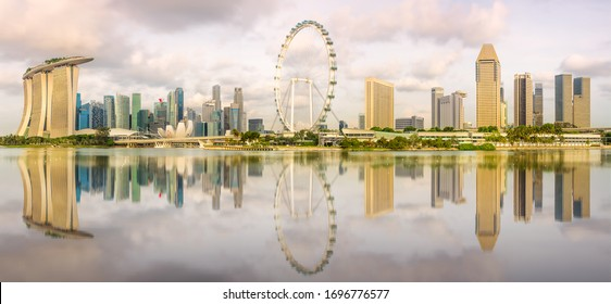View of business district and Marina bay skyline during the day in Singapore