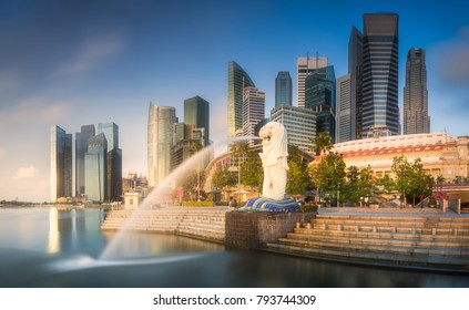 View of business district and Marina bay skyline at sunrise in Singapore