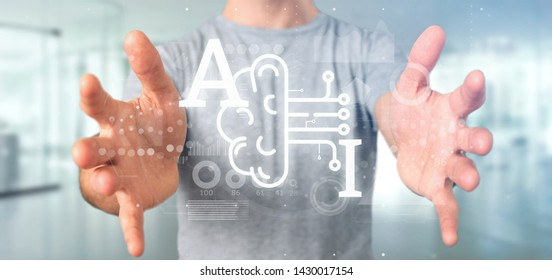 Machine Learning Line Icon Stock Photos, Images