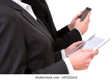 View of a Business man using tablet and smartphone