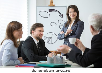 View of business partners analyzing company situation