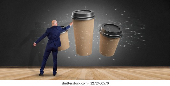 View of a Businessman in front of a Group of cardbox coffee cup with connection 3d rendering