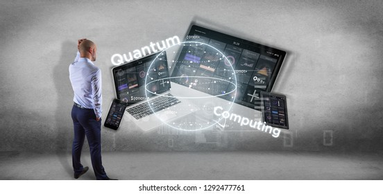 View of Businessman in front of a wall with Quantum computing concept with qubit and devices 3d rendering