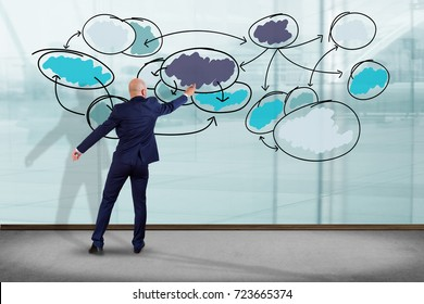 View of a Businessman in front of a wall writing on a business chart organization - Business concept