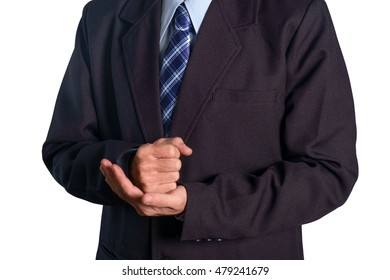 View of businessman hand show fist on white background.