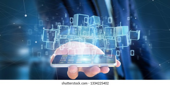View of a Businessman holding a Cloud of blockchain cube and binary data 3d rendering