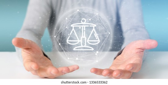 View of Businessman holding Cloud of justice and law icon bubble with data 3d rendering