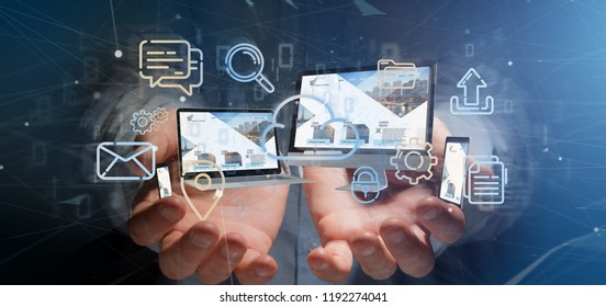View of a Businessman holding a Devices connected to a cloud multimedia network 3d rendering