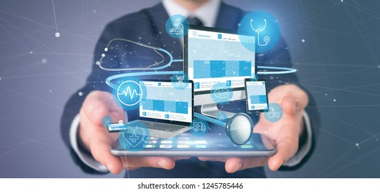 View of a Businessman holding Devices with medical icon and stethoscope 3d rendering