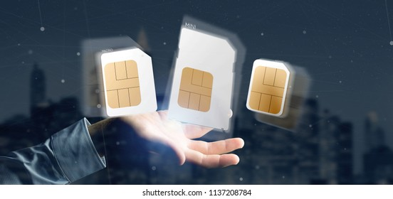 View of a Businessman holding Different size of a smartphone sim card 3d rendering