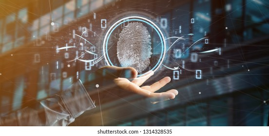 View of a Businessman holding a Digital fingerprint identification and binary code 3d rendering