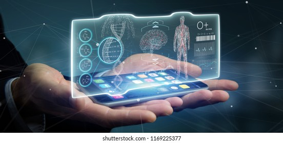 View of a Businessman holding a Futuristic template interface hud