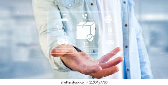 View of a Businessman holding a logistic delivery application screen 3d rendering