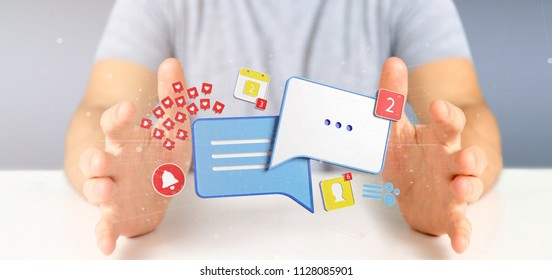 View of a Businessman holding message and notifications of social media 3d rendering