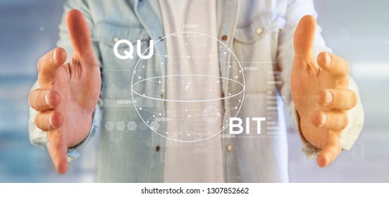 View of Businessman holding Quantum computing concept with qubit icon 3d rendering