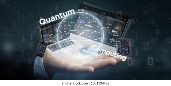 View of Businessman holding Quantum computing concept with qubit and devices 3d rendering
