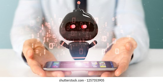 View of Businessman holding Virus chatbot with binary code 3d rendering