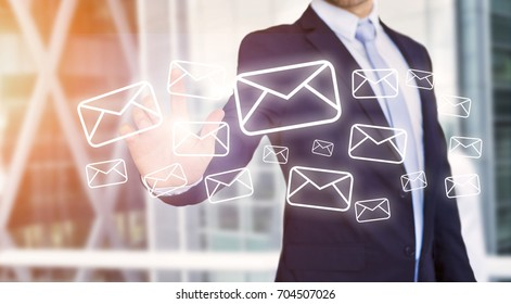 View of a Businessman touching technology interface with professional email  icon