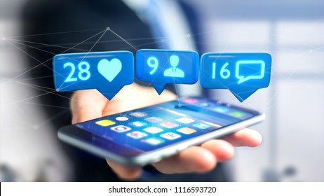 View of a Businessman using a  smartphone with a Like, Follower and message notification on social network - 3d render