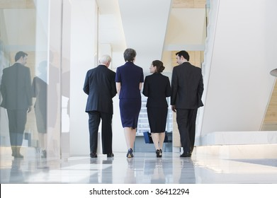 View of businesspeople walking to a meeting while discussing plans.