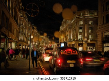 A view of a busy Oxford Street during the lead up to Christmas  drawing filter
