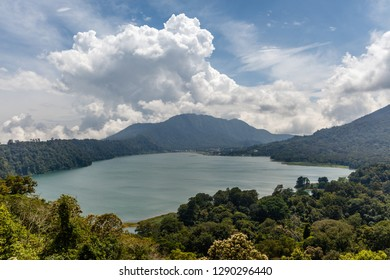 View of Buyan lake (Danau Buyan) from the top. Bedugul, Tabanan, Bali, Indonesia.