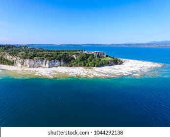 View by Drone - Terme di Catullo in Sirmione, Garda Lake. spectacular view on lake, italian summer view aerial by Drone