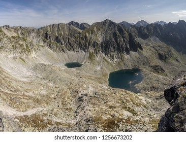 The view from Bystra Lavka peak to local mountain lakes. High Tatras mountains, Slovakia