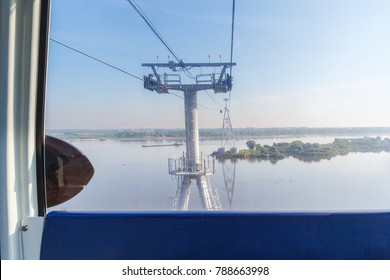 View from the cable car cabin on the river in Nizhny Novgorod, Russia