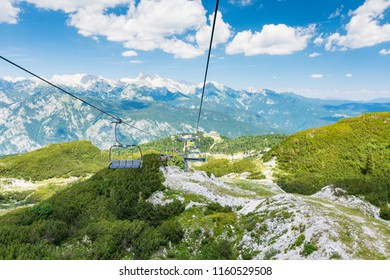 View from cable car chair on Vogel, Slovenia national park Triglav.