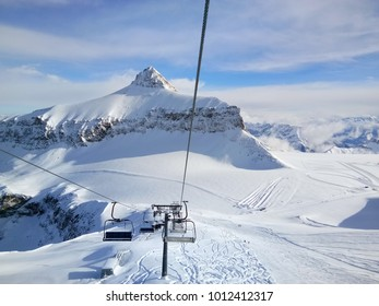 view from cable car at Glacier 3000, Switzerland