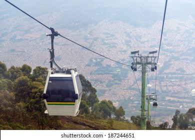 View of cable car high above Medellin, Colombia