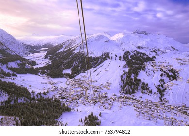 "View from ""Rüfikopf"" cable car to Lech at Arlberg"
